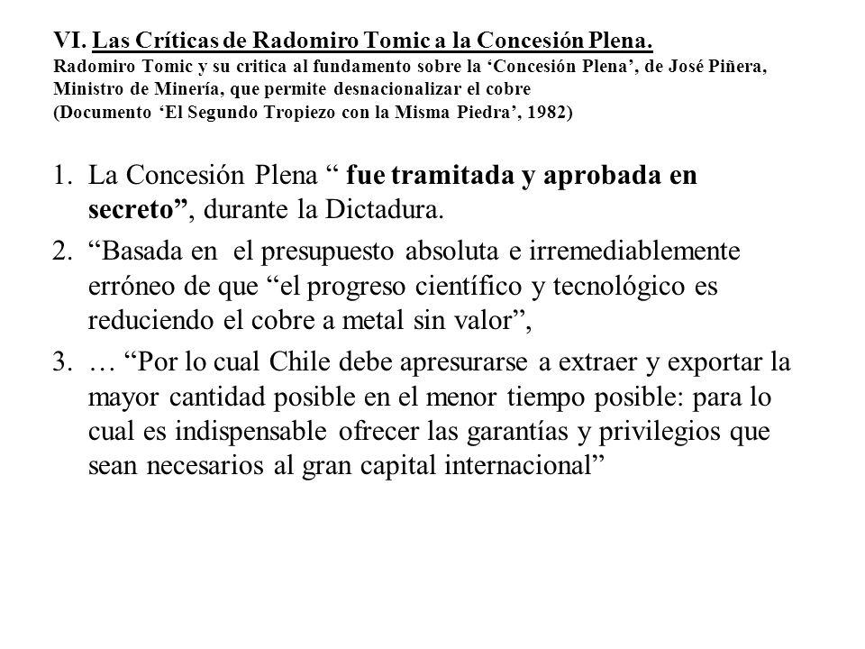 VI. Las Críticas de Radomiro Tomic a la Concesión Plena
