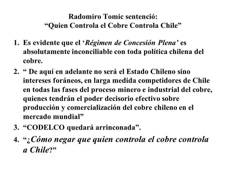 Radomiro Tomic sentenció: Quien Controla el Cobre Controla Chile