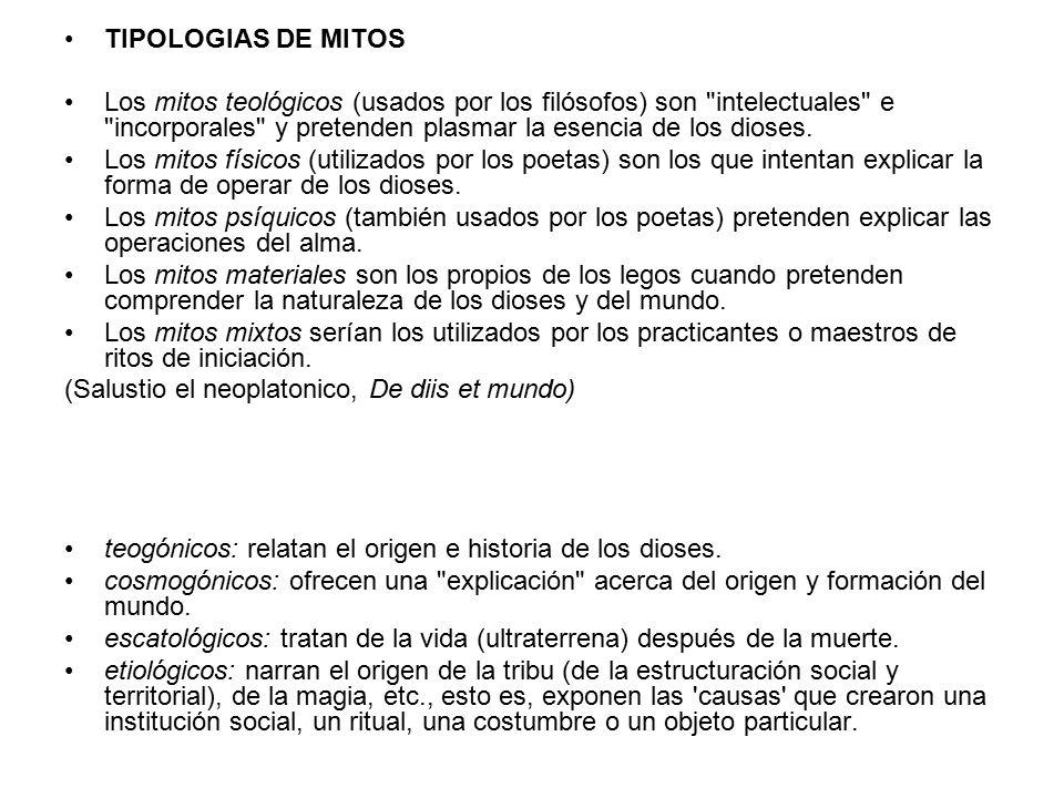 TIPOLOGIAS DE MITOS