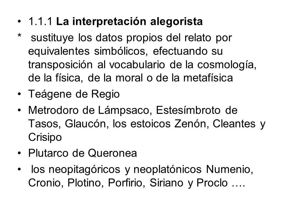 1.1.1 La interpretación alegorista