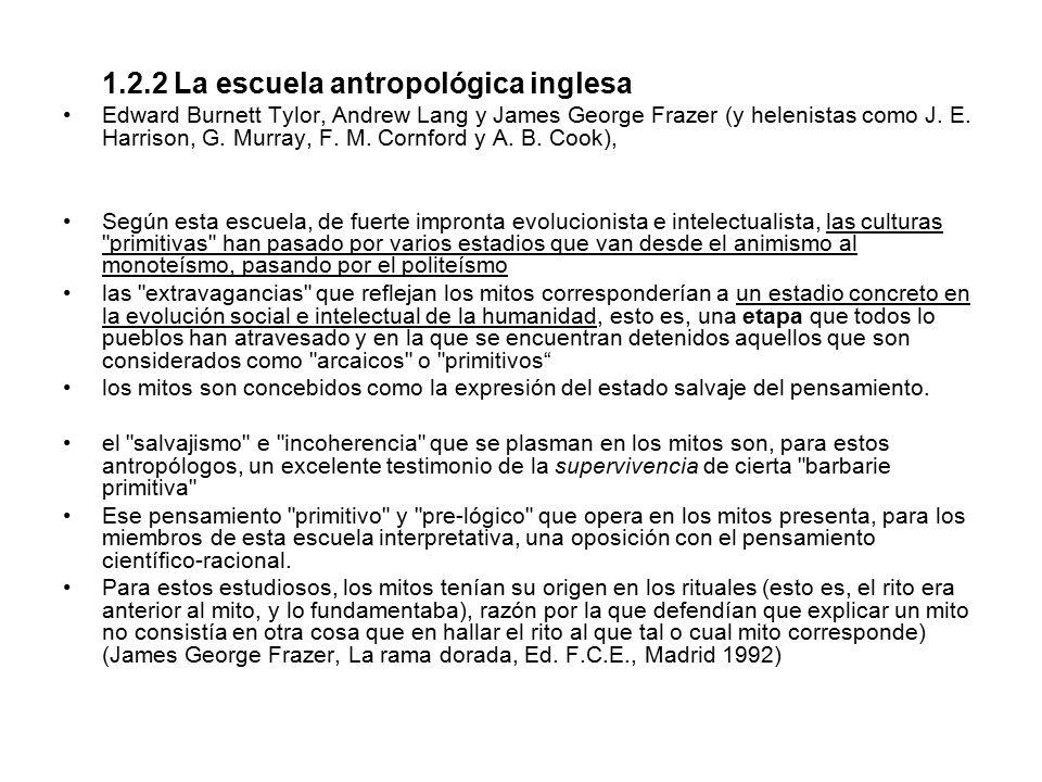 1.2.2 La escuela antropológica inglesa