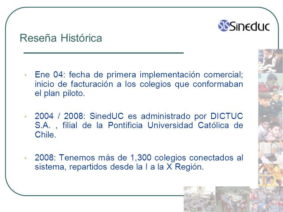 Reseña Histórica Ene 04: fecha de primera implementación comercial; inicio de facturación a los colegios que conformaban el plan piloto.