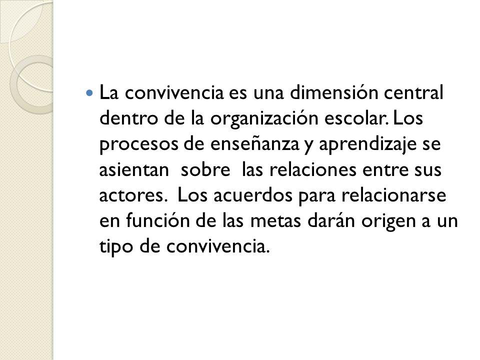 La convivencia es una dimensión central dentro de la organización escolar.