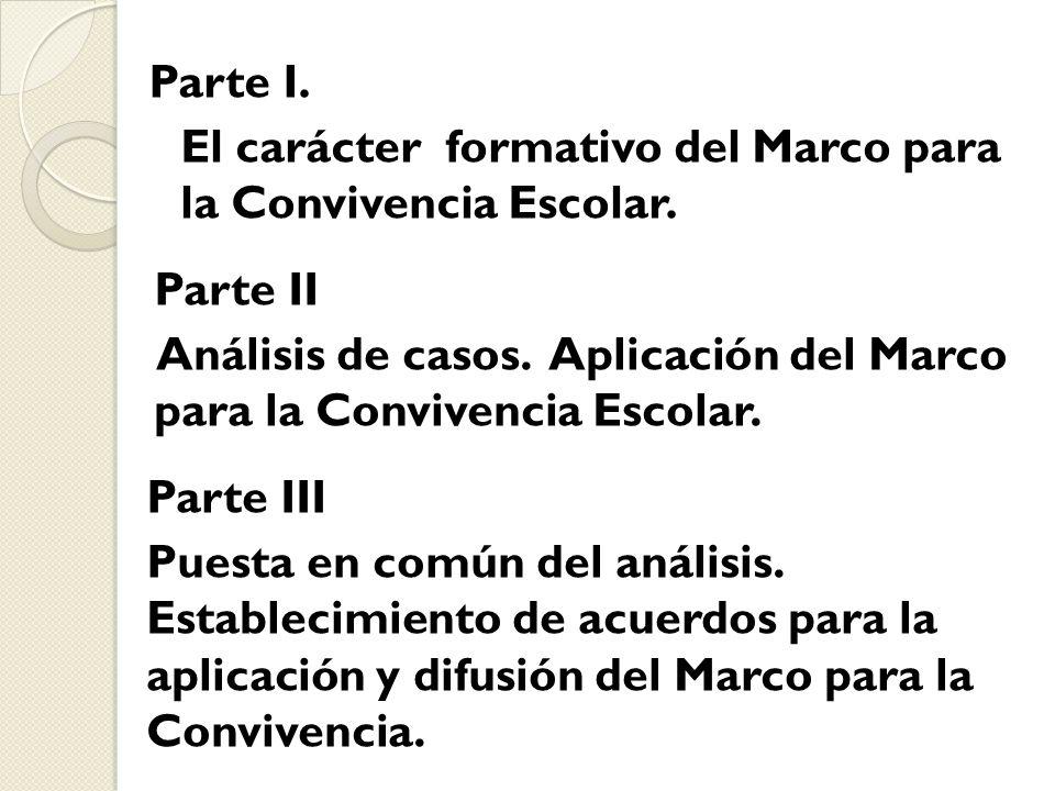 Parte I. El carácter formativo del Marco para la Convivencia Escolar.