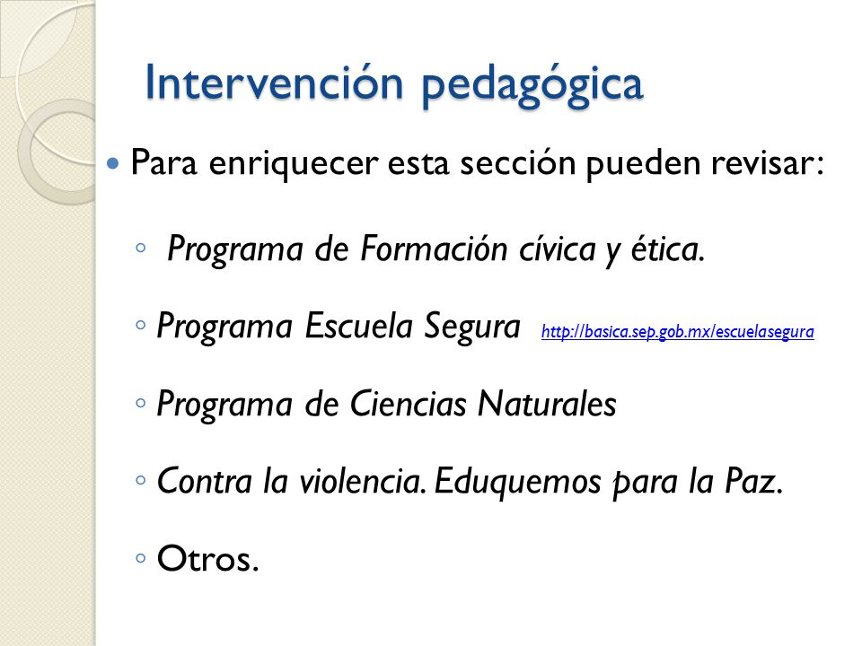 Intervención pedagógica
