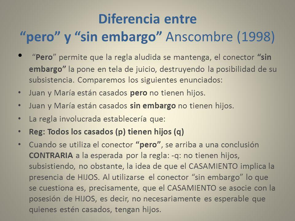Diferencia entre pero y sin embargo Anscombre (1998)