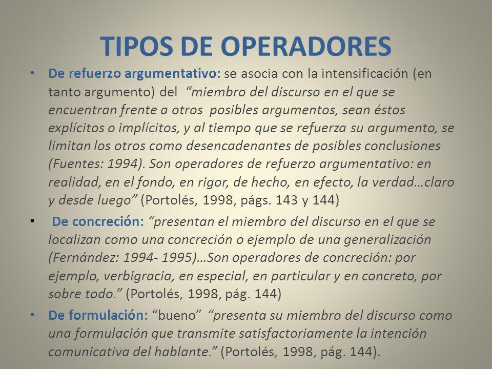 TIPOS DE OPERADORES