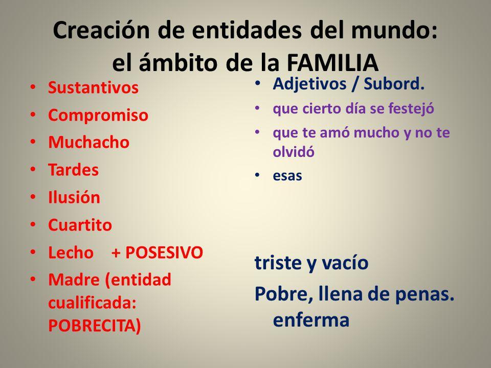 Creación de entidades del mundo: el ámbito de la FAMILIA