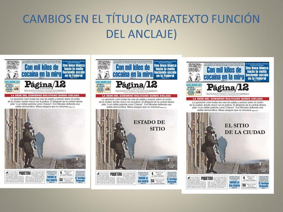 CAMBIOS EN EL TÍTULO (PARATEXTO FUNCIÓN DEL ANCLAJE)