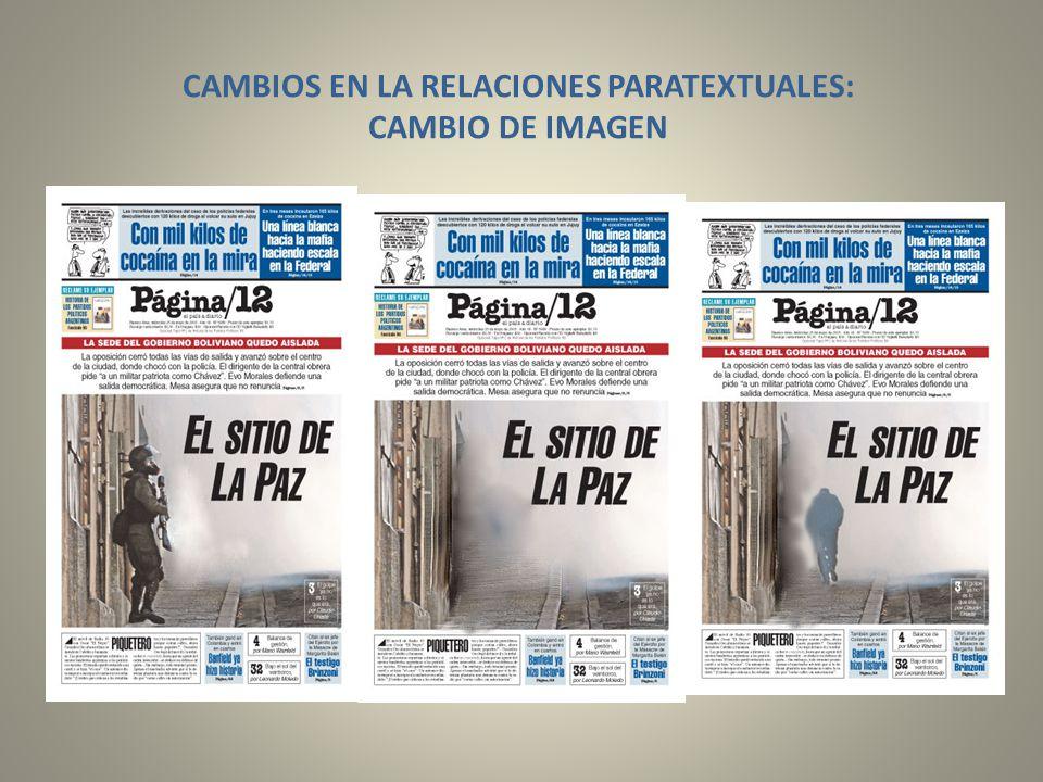 CAMBIOS EN LA RELACIONES PARATEXTUALES: CAMBIO DE IMAGEN