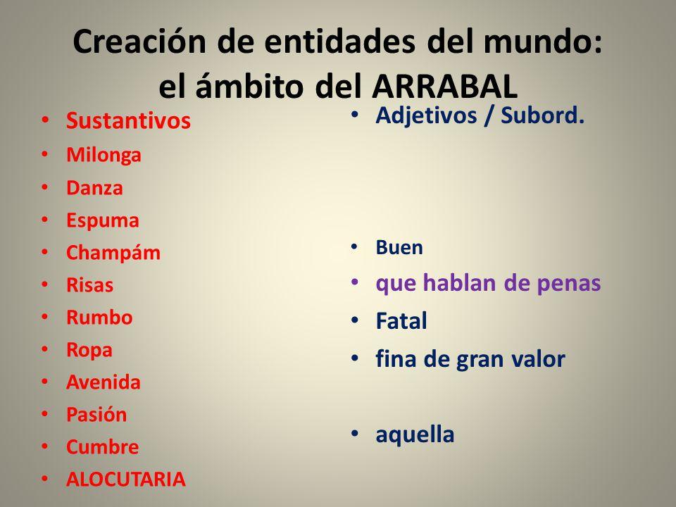 Creación de entidades del mundo: el ámbito del ARRABAL