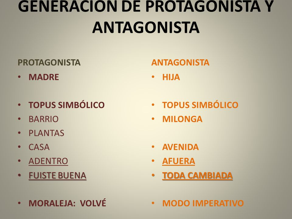 GENERACIÓN DE PROTAGONISTA Y ANTAGONISTA
