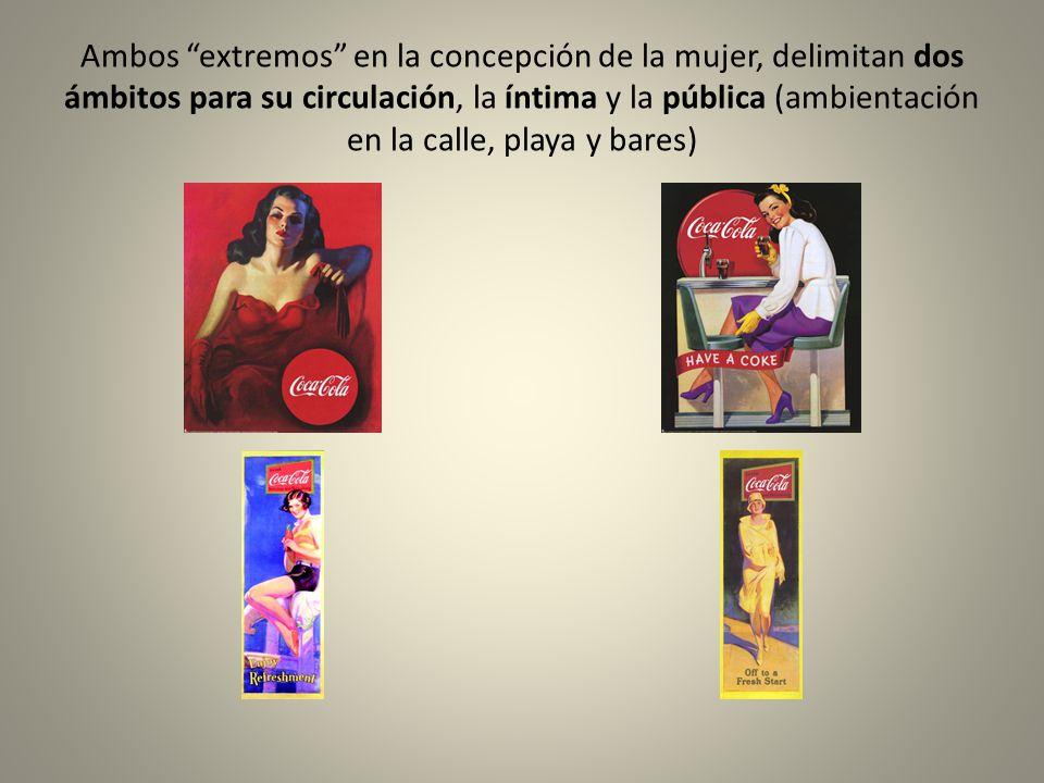 Ambos extremos en la concepción de la mujer, delimitan dos ámbitos para su circulación, la íntima y la pública (ambientación en la calle, playa y bares)