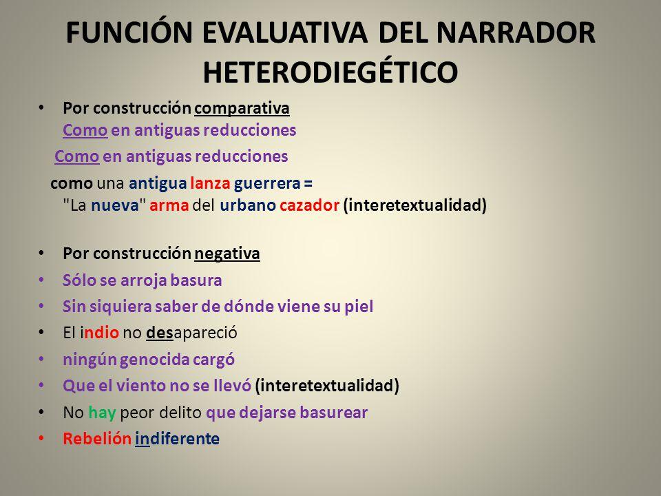 FUNCIÓN EVALUATIVA DEL NARRADOR HETERODIEGÉTICO