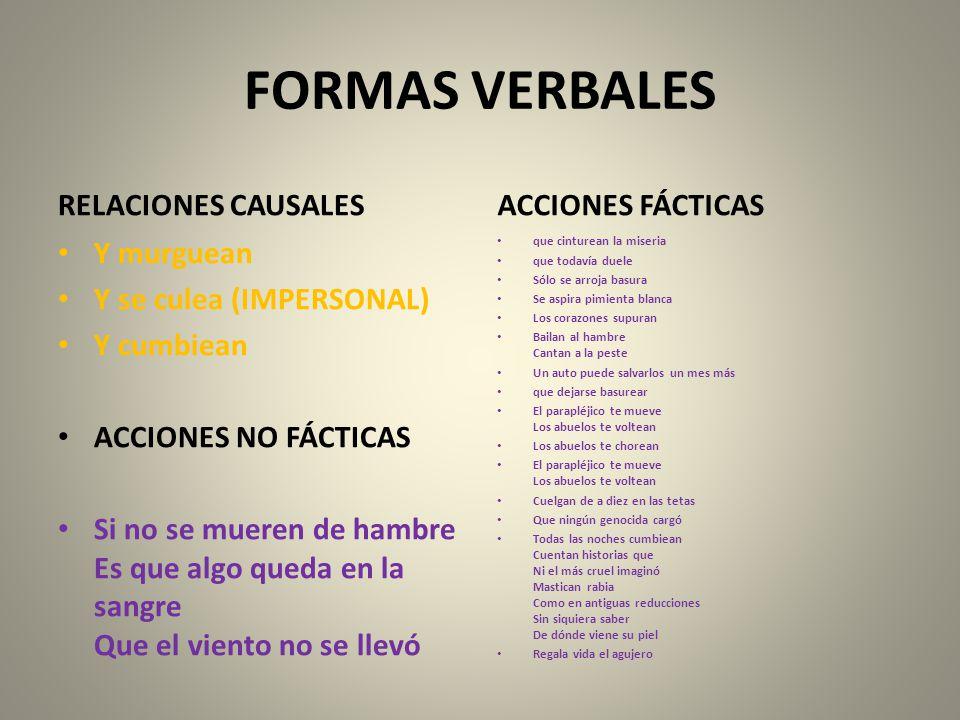 FORMAS VERBALES RELACIONES CAUSALES ACCIONES FÁCTICAS Y murguean