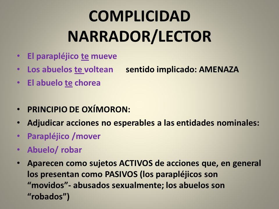 COMPLICIDAD NARRADOR/LECTOR
