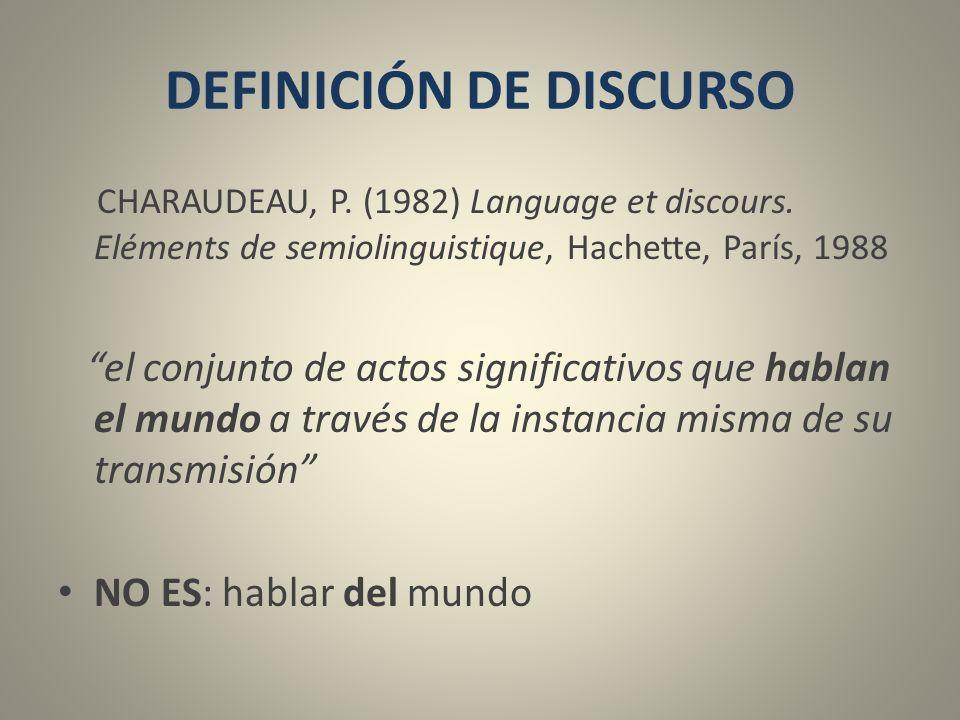 DEFINICIÓN DE DISCURSO