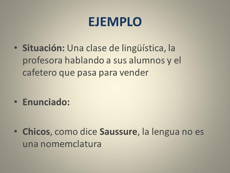 EJEMPLO Situación: Una clase de lingüística, la profesora hablando a sus alumnos y el cafetero que pasa para vender.