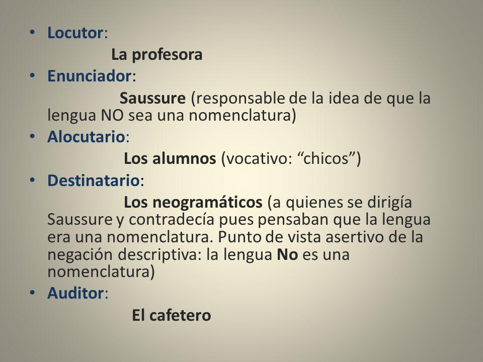 Locutor: La profesora. Enunciador: Saussure (responsable de la idea de que la lengua NO sea una nomenclatura)
