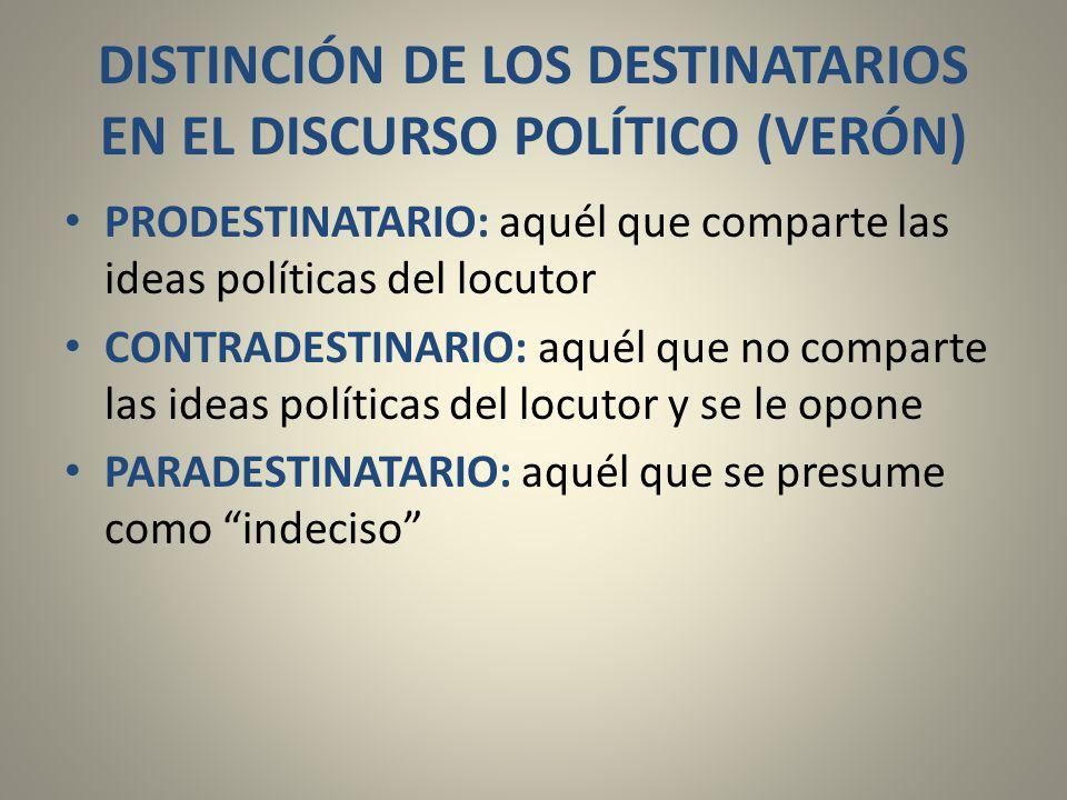 DISTINCIÓN DE LOS DESTINATARIOS EN EL DISCURSO POLÍTICO (VERÓN)