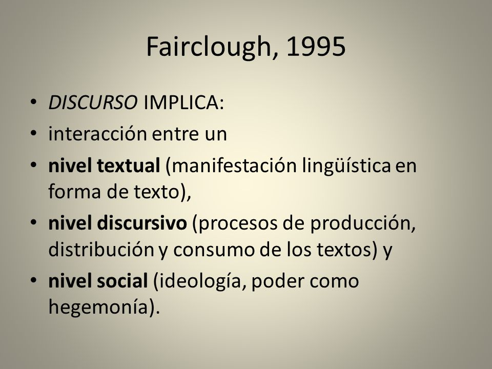 Fairclough, 1995 DISCURSO IMPLICA: interacción entre un