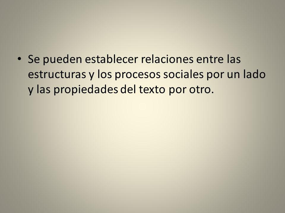 Se pueden establecer relaciones entre las estructuras y los procesos sociales por un lado y las propiedades del texto por otro.