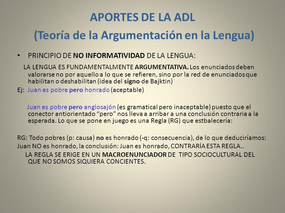 APORTES DE LA ADL (Teoría de la Argumentación en la Lengua)