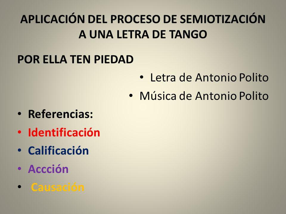 APLICACIÓN DEL PROCESO DE SEMIOTIZACIÓN A UNA LETRA DE TANGO
