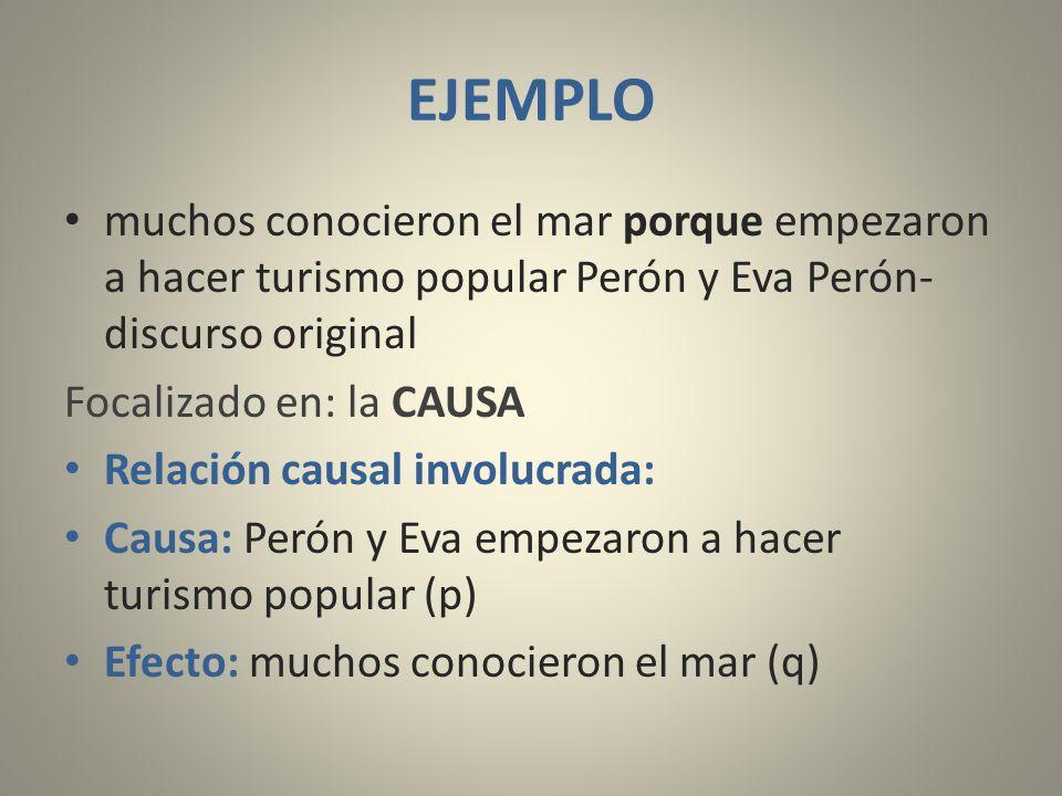EJEMPLO muchos conocieron el mar porque empezaron a hacer turismo popular Perón y Eva Perón- discurso original.