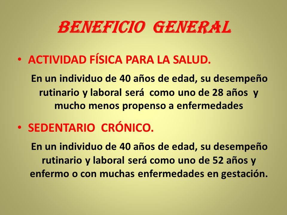 BENEFICIO GENERAL ACTIVIDAD FÍSICA PARA LA SALUD.