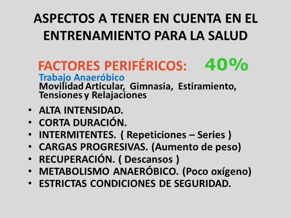 ASPECTOS A TENER EN CUENTA EN EL ENTRENAMIENTO PARA LA SALUD