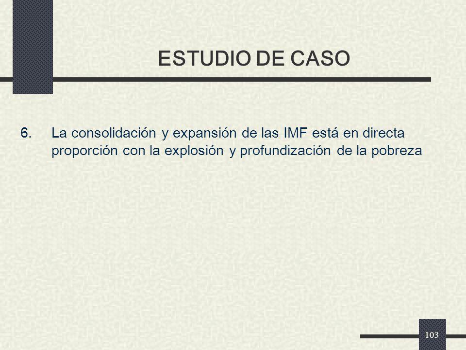 ESTUDIO DE CASO 6. La consolidación y expansión de las IMF está en directa proporción con la explosión y profundización de la pobreza.