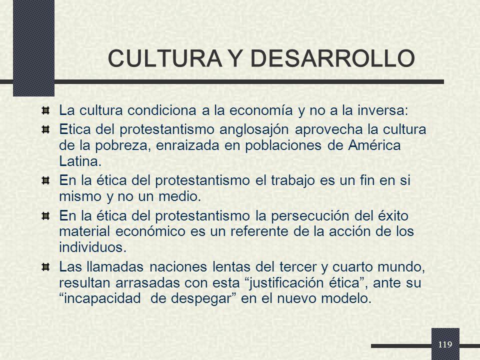CULTURA Y DESARROLLO La cultura condiciona a la economía y no a la inversa:
