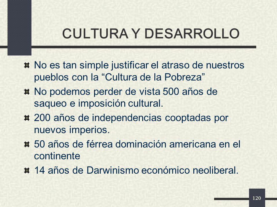 CULTURA Y DESARROLLO No es tan simple justificar el atraso de nuestros pueblos con la Cultura de la Pobreza