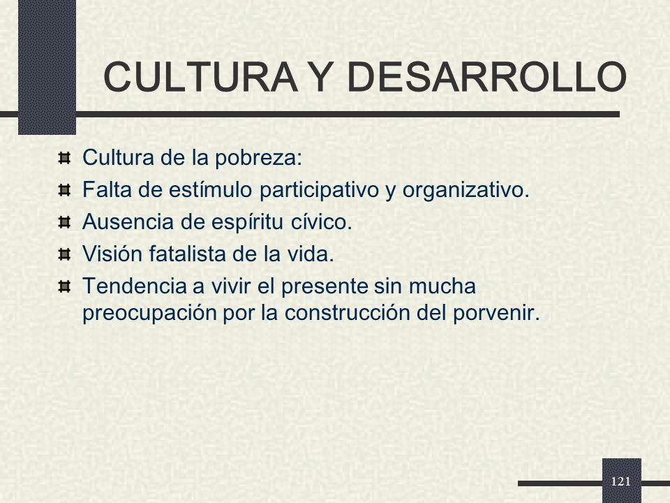 CULTURA Y DESARROLLO Cultura de la pobreza:
