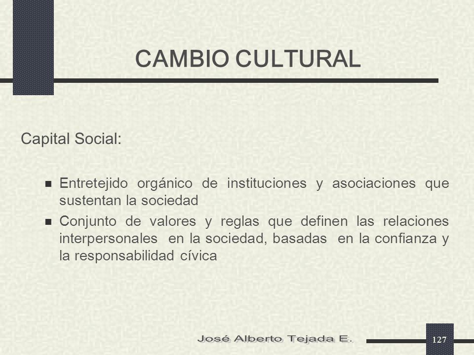 CAMBIO CULTURAL José Alberto Tejada E. Capital Social: