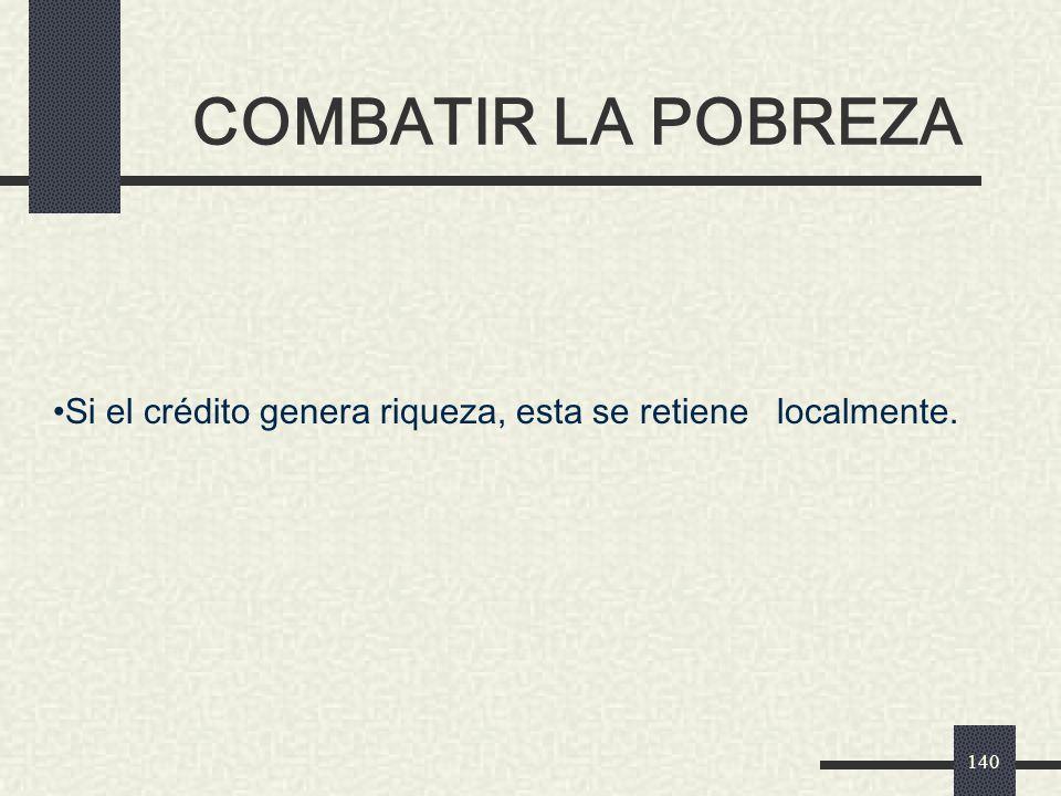COMBATIR LA POBREZA Si el crédito genera riqueza, esta se retiene localmente. A1