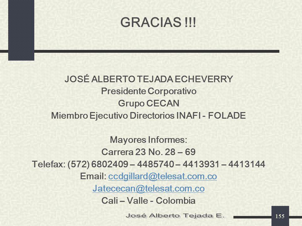 GRACIAS !!! José Alberto Tejada E. JOSÉ ALBERTO TEJADA ECHEVERRY