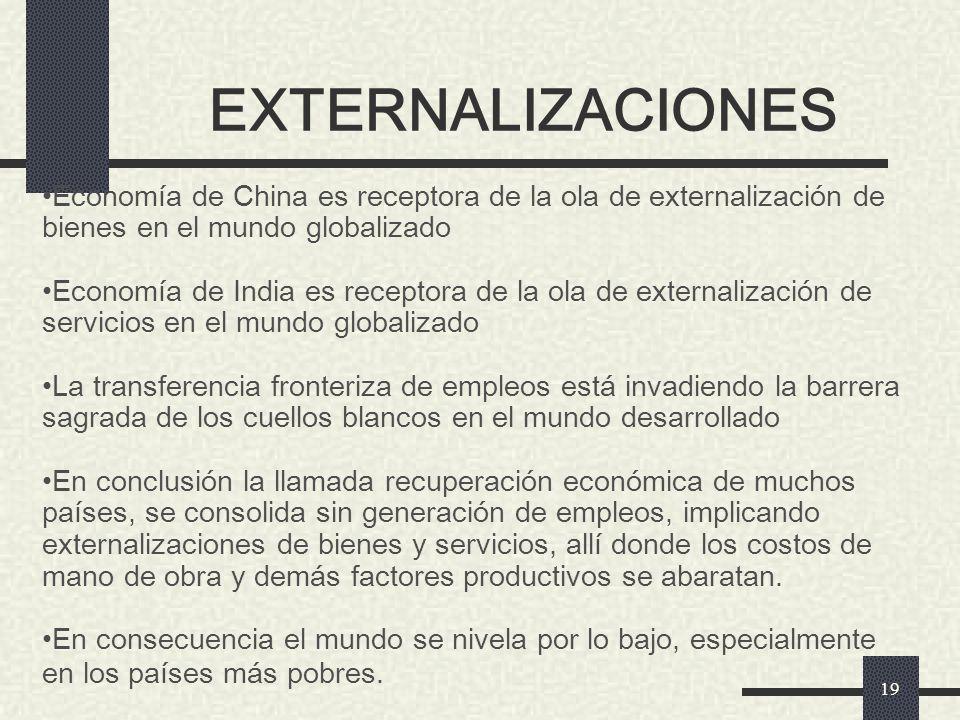 EXTERNALIZACIONES Economía de China es receptora de la ola de externalización de bienes en el mundo globalizado.