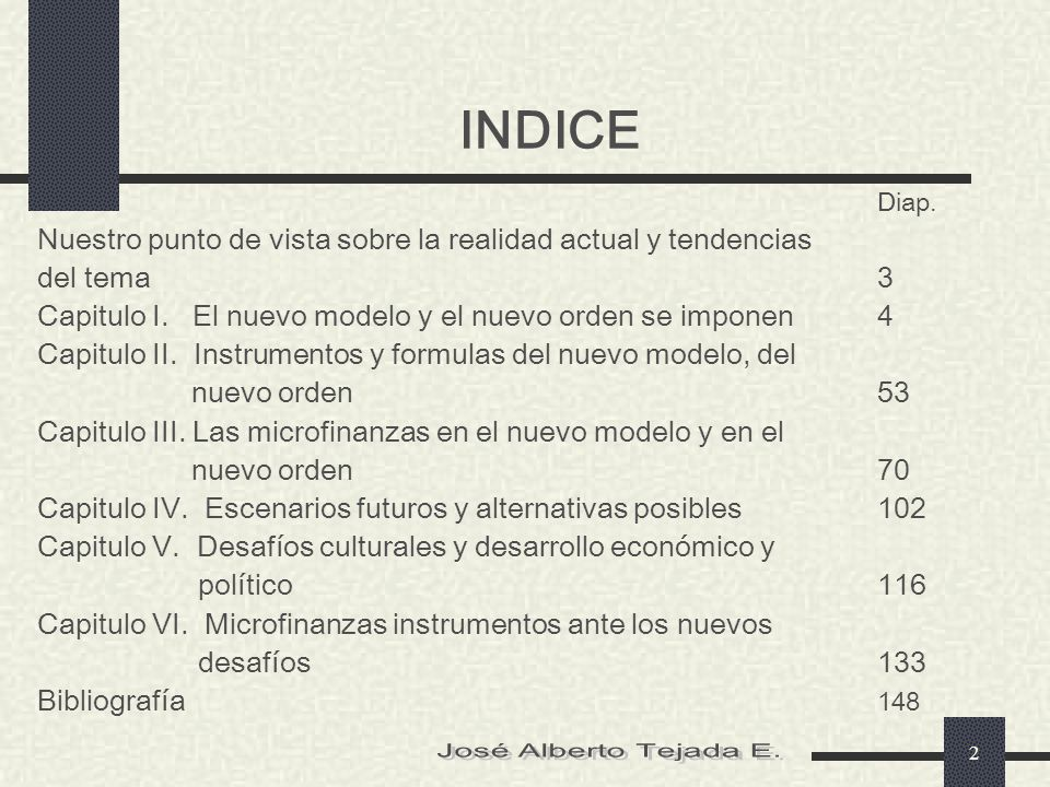 INDICE José Alberto Tejada E.