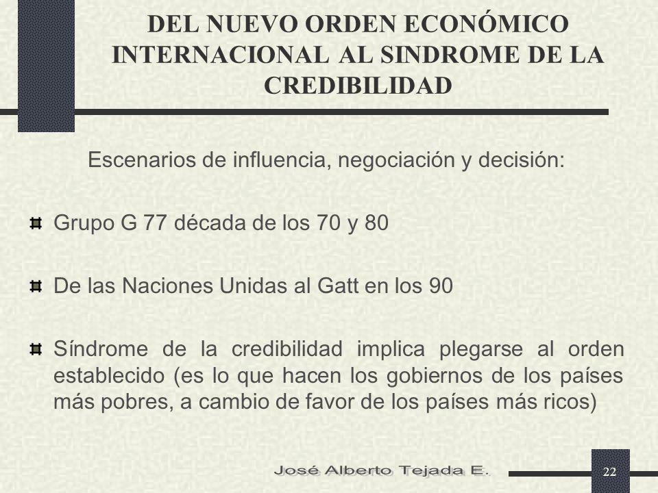 DEL NUEVO ORDEN ECONÓMICO INTERNACIONAL AL SINDROME DE LA CREDIBILIDAD