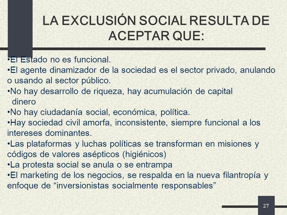 LA EXCLUSIÓN SOCIAL RESULTA DE ACEPTAR QUE: