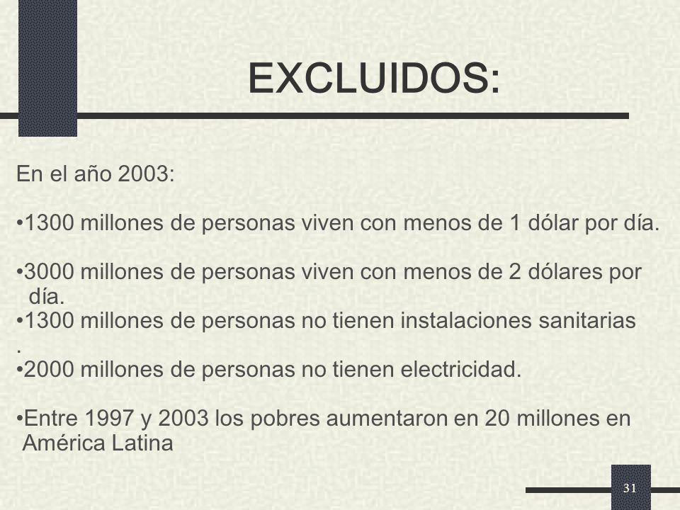 EXCLUIDOS: En el año 2003: 1300 millones de personas viven con menos de 1 dólar por día. 3000 millones de personas viven con menos de 2 dólares por.