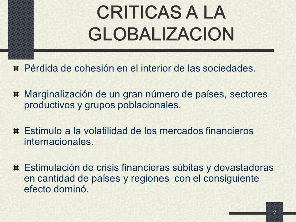 CRITICAS A LA GLOBALIZACION