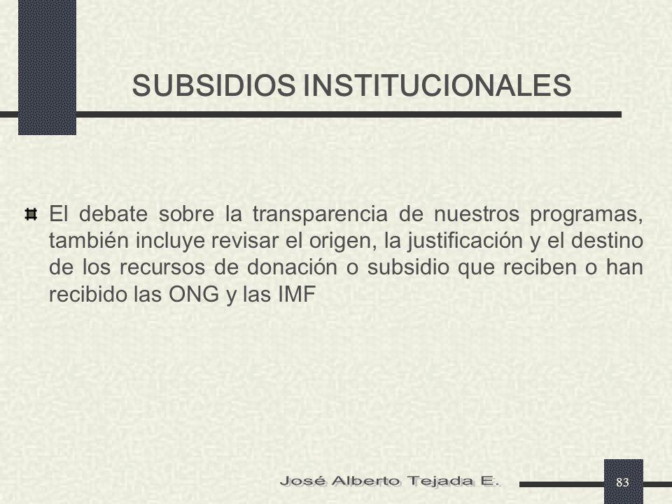 SUBSIDIOS INSTITUCIONALES