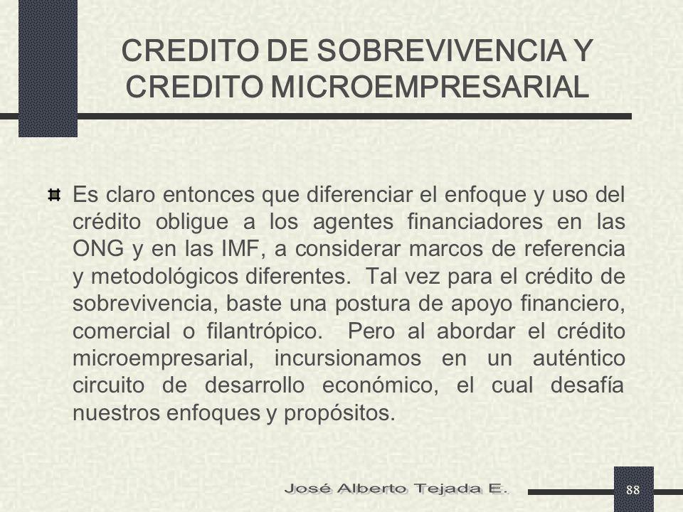CREDITO DE SOBREVIVENCIA Y CREDITO MICROEMPRESARIAL