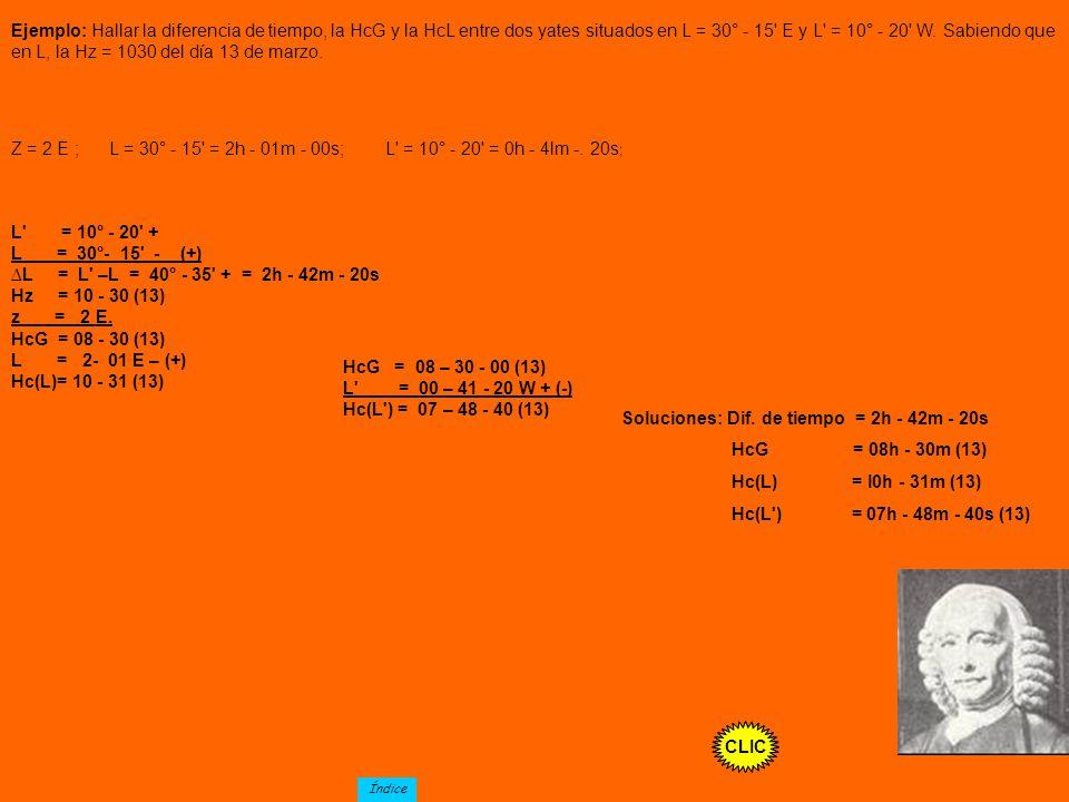 Soluciones: Dif. de tiempo = 2h - 42m - 20s HcG = 08h - 30m (13)