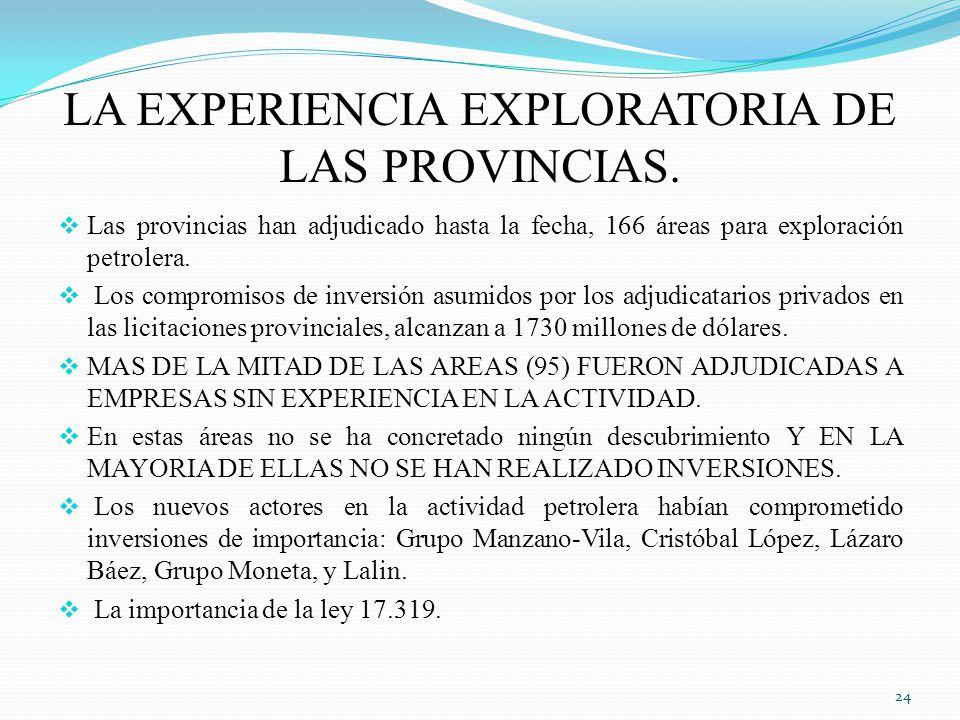 LA EXPERIENCIA EXPLORATORIA DE LAS PROVINCIAS.