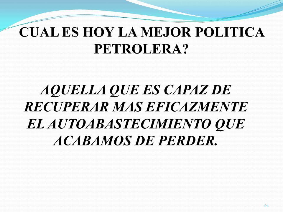 CUAL ES HOY LA MEJOR POLITICA PETROLERA