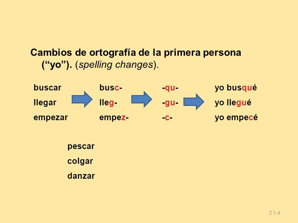 09/28/09 Cambios de ortografía de la primera persona ( yo ). (spelling changes). buscar. llegar.